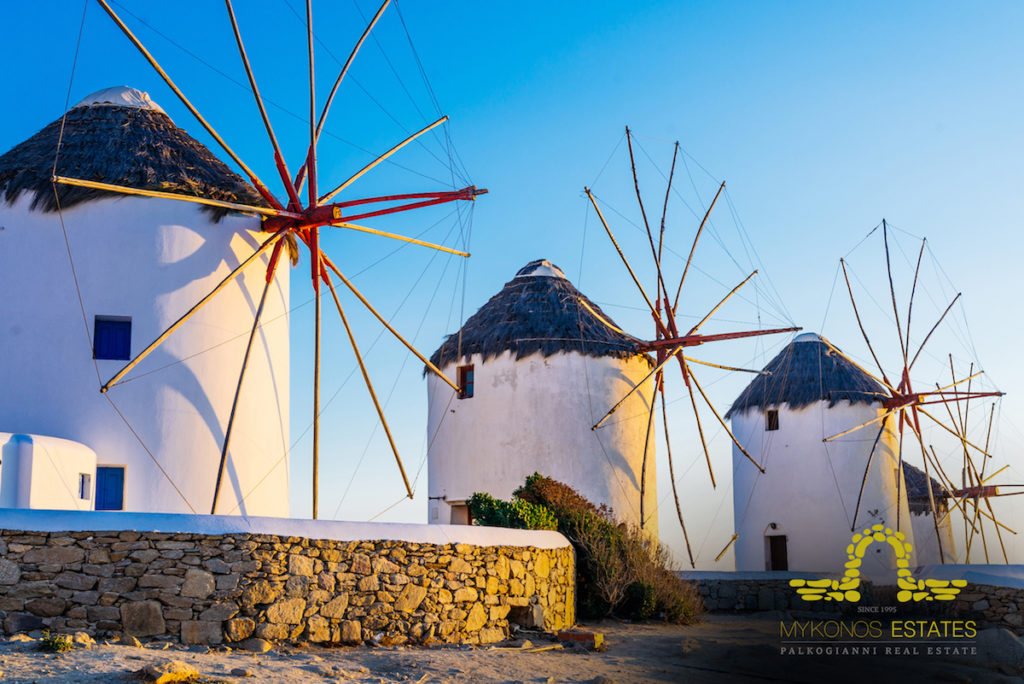 Distinctive Mykonos windmills